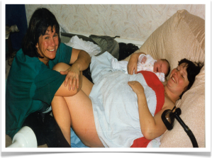 Me with Helen, following her home water birth in 1990s.